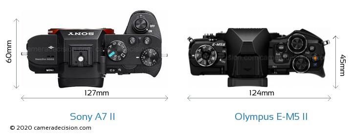 Sony A7 II vs Olympus E-M5 II Camera Size Comparison - Top View