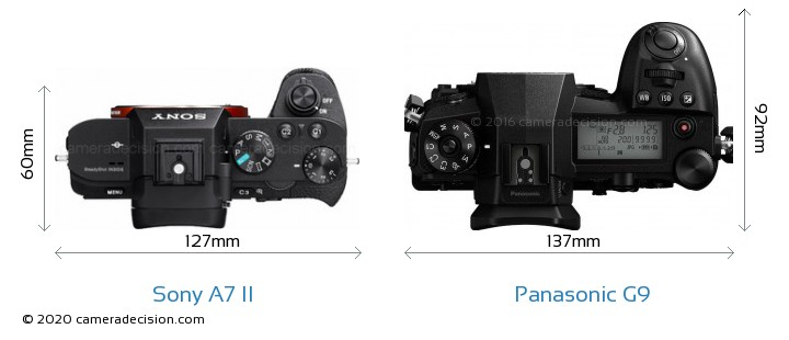 Sony A7 II vs Panasonic G9 Camera Size Comparison - Top View