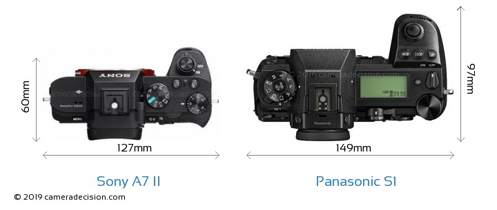 Sony A7 II vs Panasonic S1 Camera Size Comparison - Top View