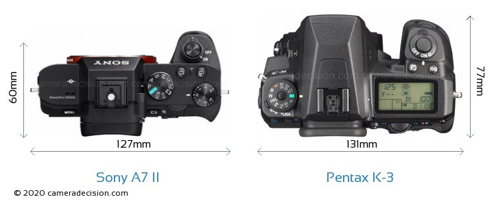 Sony A7 II vs Pentax K-3 Camera Size Comparison - Top View