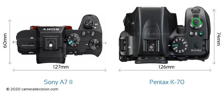 Sony A7 II vs Pentax K-70 Camera Size Comparison - Top View