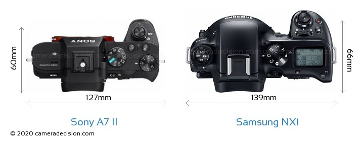 Sony A7 II vs Samsung NX1 Camera Size Comparison - Top View