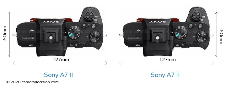 Sony A7 II vs Sony A7 II Camera Size Comparison - Top View