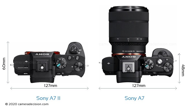 Sony A7 II vs Sony A7 Camera Size Comparison - Top View