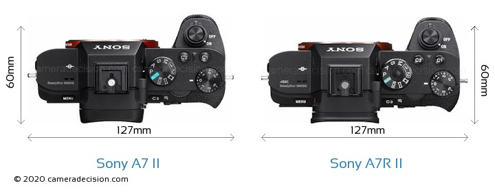 Sony A7 II vs Sony A7R II Camera Size Comparison - Top View