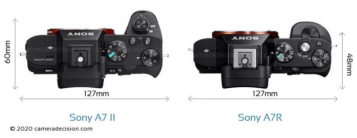 Sony A7 II vs Sony A7R Camera Size Comparison - Top View