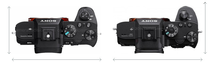 Sony A7 II vs Sony A7R III Camera Size Comparison - Top View