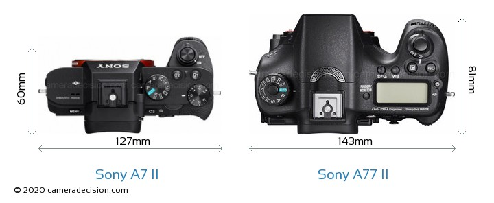 Sony A7 II vs Sony A77 II Camera Size Comparison - Top View