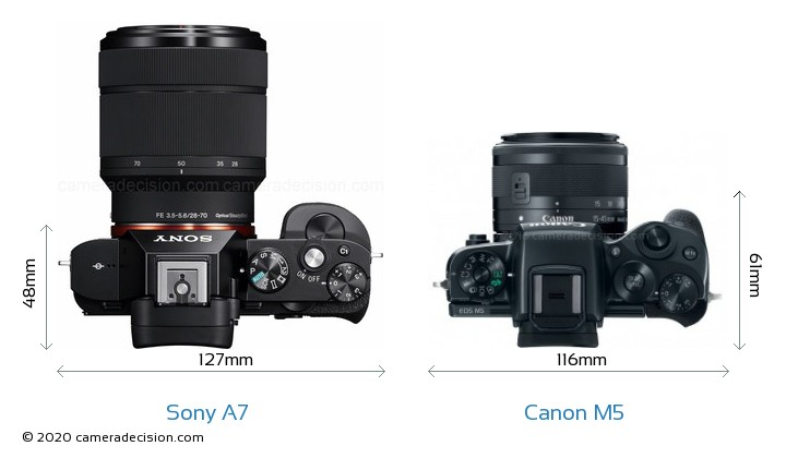 Sony A7 vs Canon M5 Camera Size Comparison - Top View