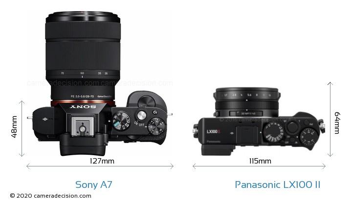 Sony A7 vs Panasonic LX100 II Camera Size Comparison - Top View