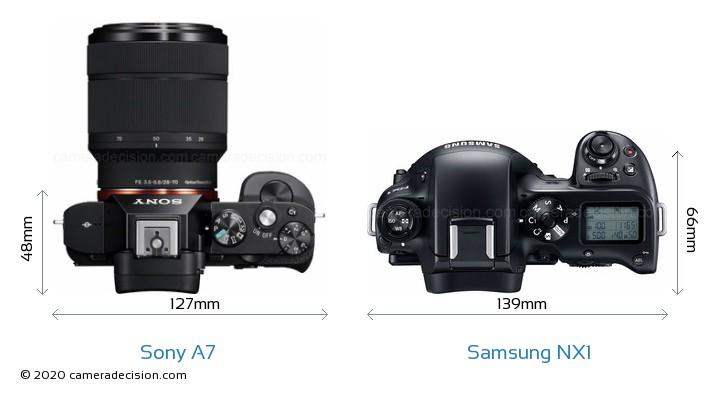Sony A7 vs Samsung NX1 Camera Size Comparison - Top View