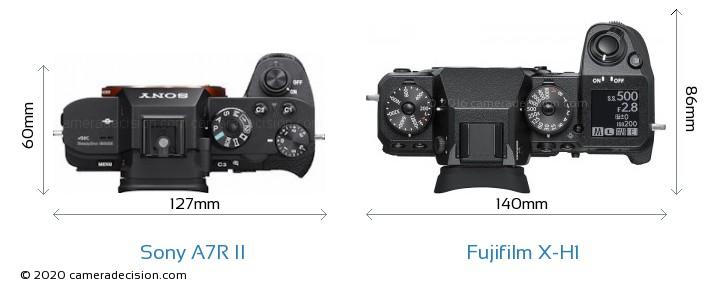 Sony A7R II vs Fujifilm X-H1 Camera Size Comparison - Top View