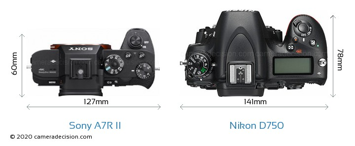 Sony A7R II vs Nikon D750 Camera Size Comparison - Top View