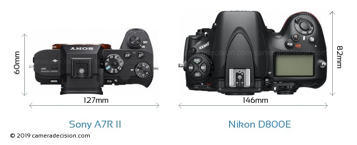 Sony A7R II vs Nikon D800E Camera Size Comparison - Top View