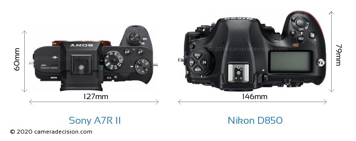 Sony A7R II vs Nikon D850 Camera Size Comparison - Top View