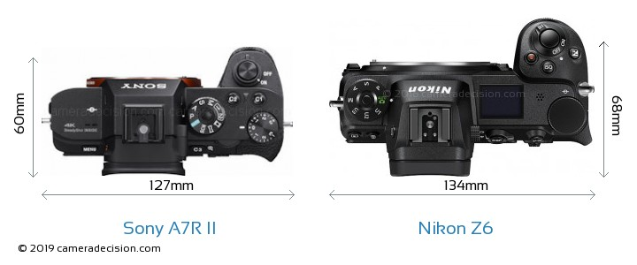 Sony A7R II vs Nikon Z6 Camera Size Comparison - Top View
