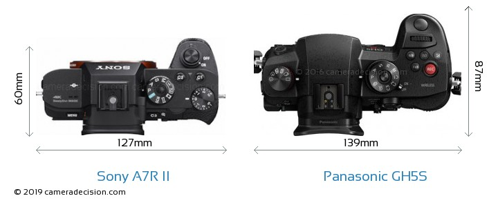 Sony A7R II vs Panasonic GH5S Camera Size Comparison - Top View