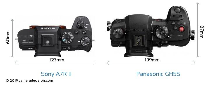 Sony A7R II vs Panasonic GH5S Camera Size Comparison - Top View