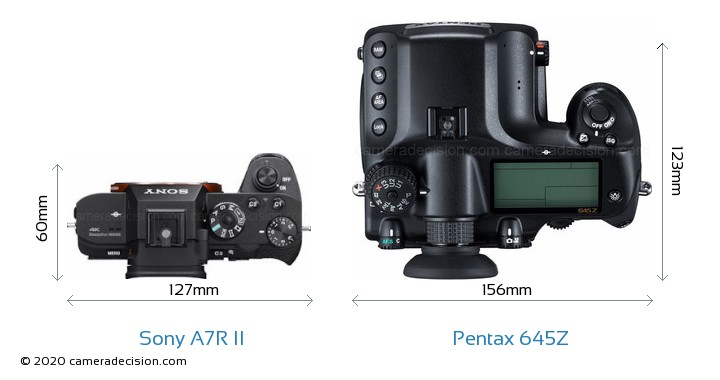 Sony A7R II vs Pentax 645Z Camera Size Comparison - Top View