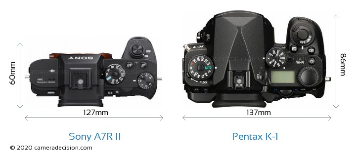 Sony A7R II vs Pentax K-1 Camera Size Comparison - Top View