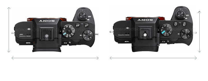 Sony A7R II vs Sony A7 II Camera Size Comparison - Top View