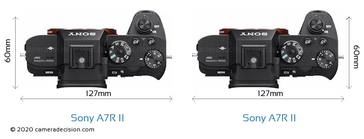 Sony A7R II vs Sony A7R II Camera Size Comparison - Top View