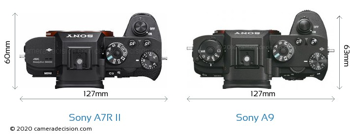 Sony A7R II vs Sony A9 Camera Size Comparison - Top View