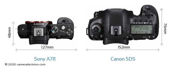 Sony A7R vs Canon 5DS Camera Size Comparison - Top View