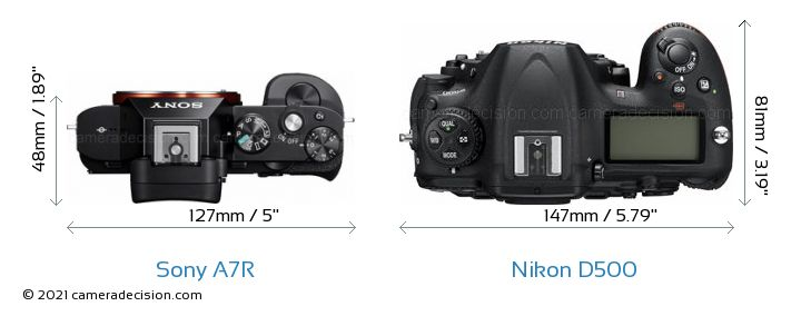Sony A7R vs Nikon D500 Camera Size Comparison - Top View