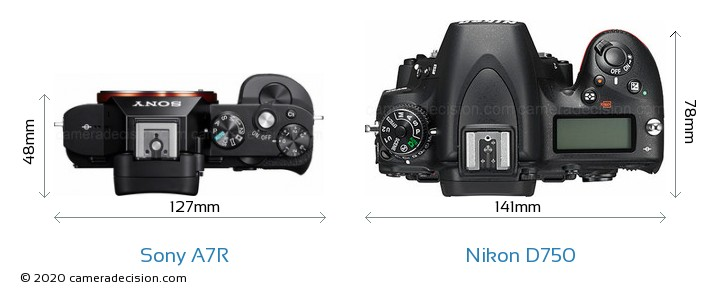 Sony A7R vs Nikon D750 Camera Size Comparison - Top View