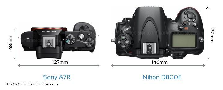 Sony A7R vs Nikon D800E Camera Size Comparison - Top View