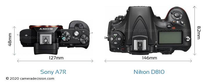 Sony A7R vs Nikon D810 Camera Size Comparison - Top View