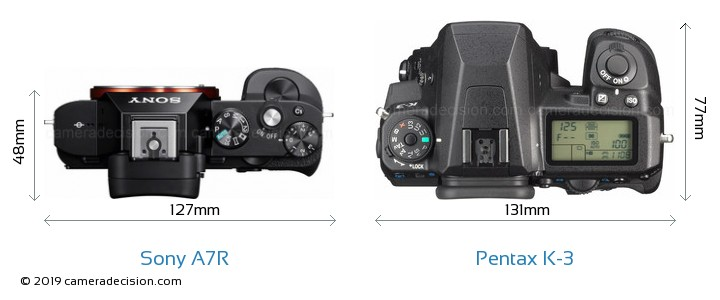Sony A7R vs Pentax K-3 Camera Size Comparison - Top View