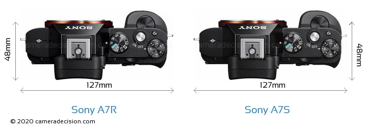 Sony A7R vs Sony A7S Camera Size Comparison - Top View