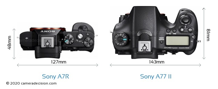 Sony A7R vs Sony A77 II Camera Size Comparison - Top View