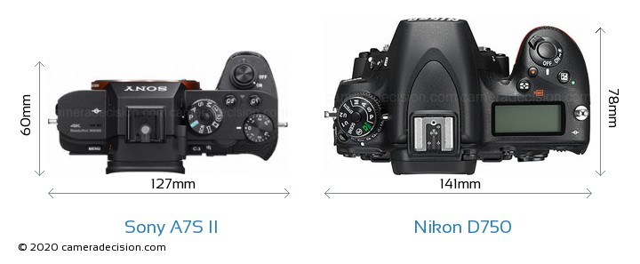 Sony A7S II vs Nikon D750 Camera Size Comparison - Top View