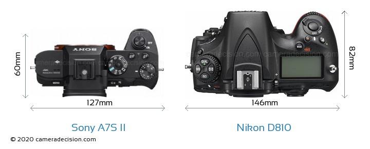 Sony A7S II vs Nikon D810 Camera Size Comparison - Top View