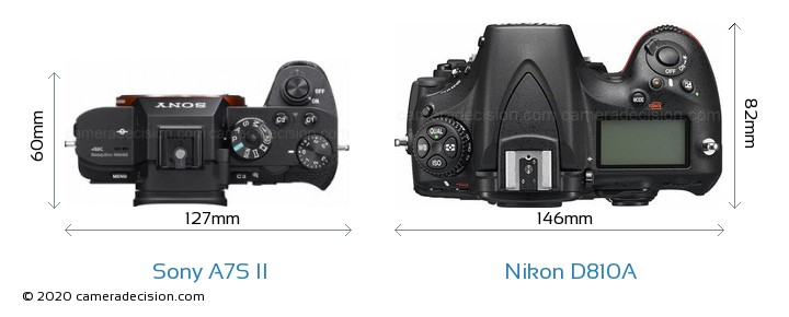 Sony A7S II vs Nikon D810A Camera Size Comparison - Top View