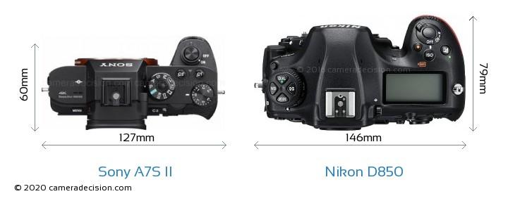 Sony A7S II vs Nikon D850 Camera Size Comparison - Top View
