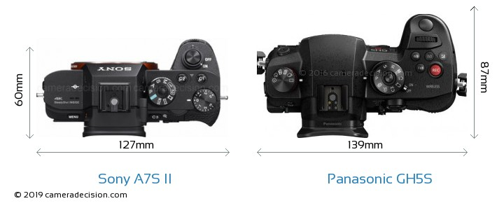 Sony A7S II vs Panasonic GH5S Camera Size Comparison - Top View