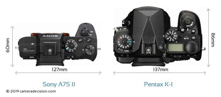 Sony A7S II vs Pentax K-1 Camera Size Comparison - Top View