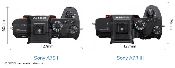 Sony A7S II vs Sony A7R III Camera Size Comparison - Top View