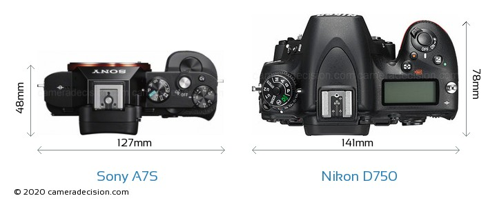 Sony A7S vs Nikon D750 Camera Size Comparison - Top View