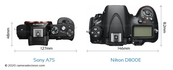 Sony A7S vs Nikon D800E Camera Size Comparison - Top View