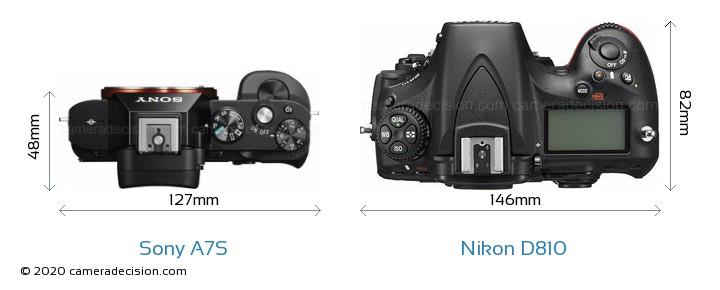 Sony A7S vs Nikon D810 Camera Size Comparison - Top View