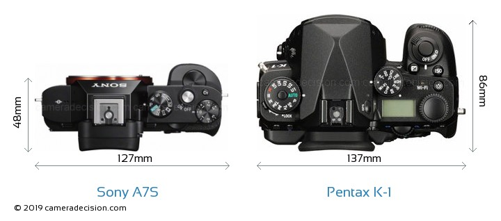 Sony A7S vs Pentax K-1 Camera Size Comparison - Top View