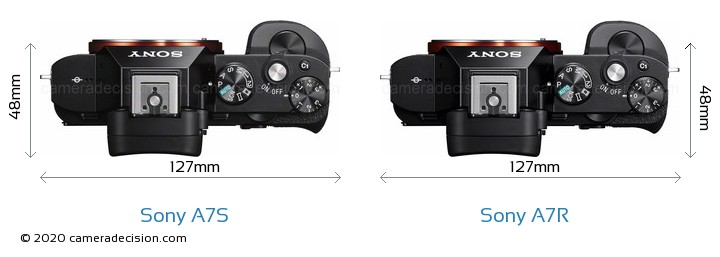 Sony A7S vs Sony A7R Camera Size Comparison - Top View