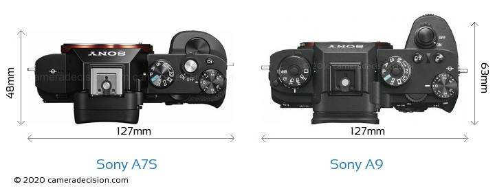 Sony A7S vs Sony A9 Camera Size Comparison - Top View