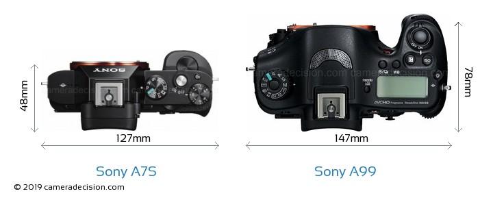 Sony A7S vs Sony A99 Camera Size Comparison - Top View