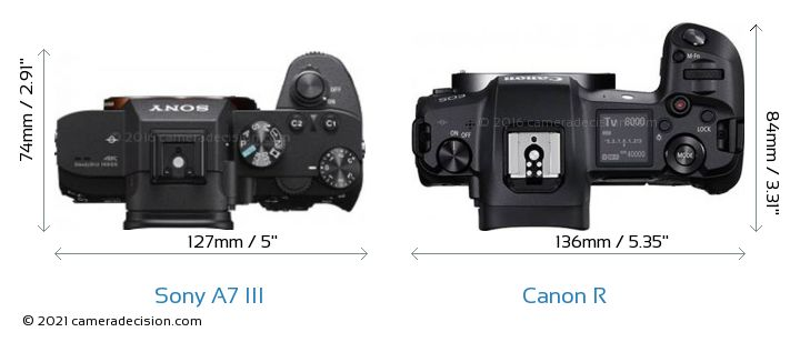 Sony A7 III vs Canon R Camera Size Comparison - Top View